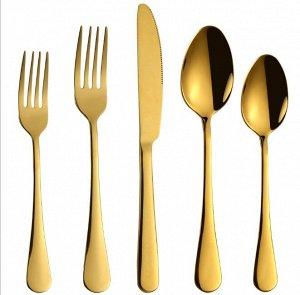 Набор столовых приборов (5 предметов), цвет золотой