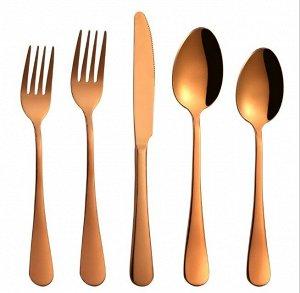 """Набор столовых приборов (5 предметов), цвет """"розовое золото"""""""