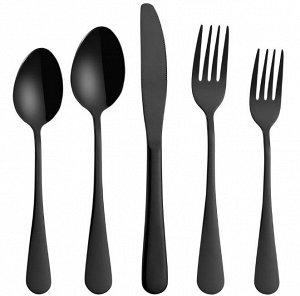 Набор столовых приборов (5 предметов), цвет черный