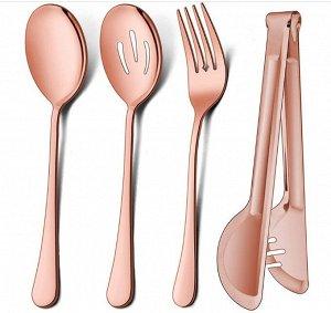 """Набор столовых приборов (4 предмета), цвет """"розовое золото"""""""