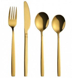 Набор столовых приборов (4 предмета), цвет золотой
