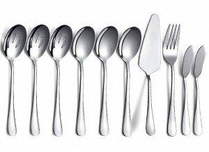 Набор столовых приборов (10 предметов), цвет серебряный