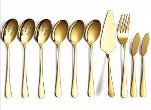 Набор столовых приборов (10 предметов), цвет золотой