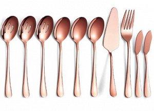 """Набор столовых приборов (10 предметов), цвет """"розовое золото"""""""