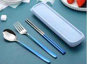 Набор столовых приборов в органайзере, цвет голубой