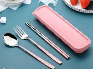Набор столовых приборов в органайзере, цвет розовый