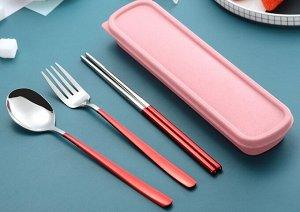 Набор столовых приборов в органайзере, цвет розовый/красный