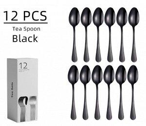 Набор столовых приборов (12 предметов), цвет черный