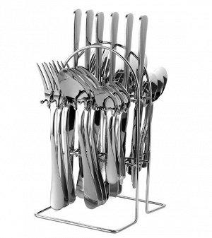 Набор столовых приборов на подставке (24 предмета), цвет серебряный