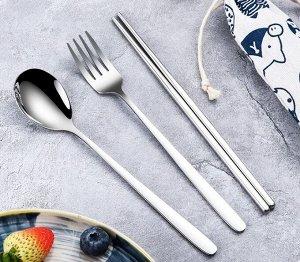 Набор столовых приборов в чехле (4 предмета), цвет серебряный