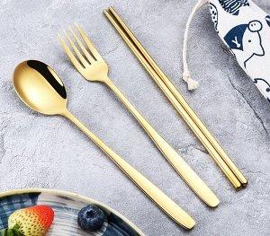 Набор столовых приборов в чехле (4 предмета), цвет золотой