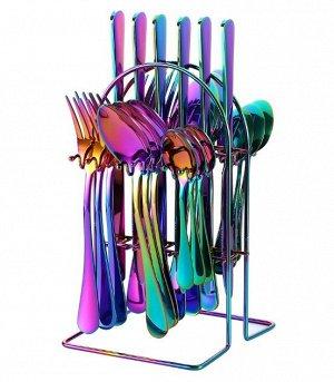Набор столовых приборов на подставке (24 предмета), разноцветный