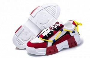 Мужские кроссовки, с красными вставками на подошве, цвет белый/красный/черный
