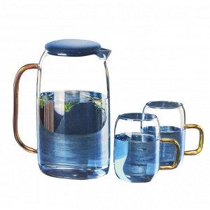 """Питьевой набор """"Blue Crystal"""" Кувшин + 2 кружки"""