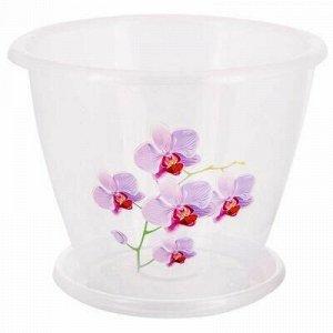 """Горшок для цветов пластмассовый """"Флора"""" 2л, д19см, h15см, ор"""