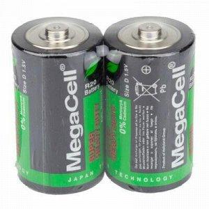 Батарейки D Megacell R20/1,5В, солевые, 2шт в спайке (Китай)