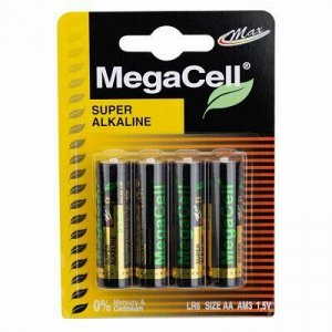 Батарейки АА Megacell LR6/1,5В, щелочные, 4шт в блистере (Ки