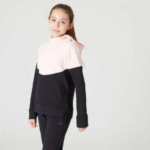 Толстовка с капюшоном и карманами на молнии для девочек черно-розовая