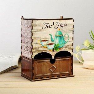 """Чайный домик двойной с ящиком """"Время пить чай"""""""
