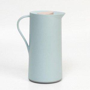 Термос-кофейник 1 л, стеклянная колба, сохраняет тепло 24 ч, голубой