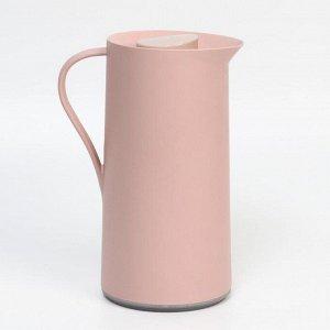Термос-кофейник 1 л, стеклянная колба, сохраняет тепло 24 ч, розовый