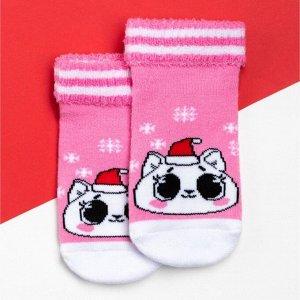 """Носки детские махровые Крошка Я """"Котик"""", розовый, 8-10 см"""