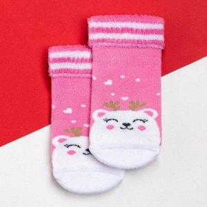 """Носки детские махровые Крошка Я """"Мишка"""", розовый, 8-10 см"""