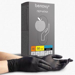 Перчатки нитриловые черные BENOVY Nitrile Chlorinated 50 пар/уп (M)