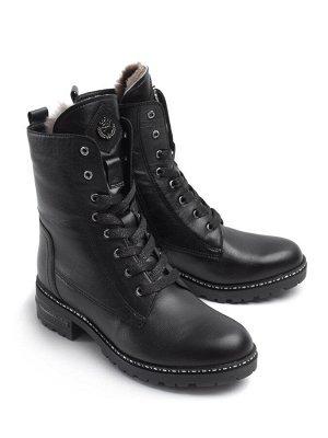 Ботинки женские зимние, черная кожа
