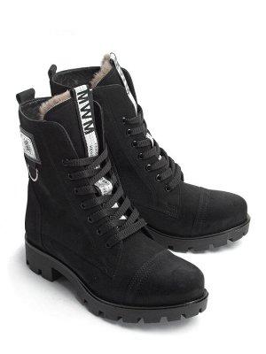 Ботинки зимние женские, черная замша