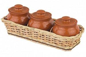 """Набор из 3-х горшков 100 мл 23*8,5*8,5 см """"TerraCotta"""" в плетёной корзинке из лозы традиция"""