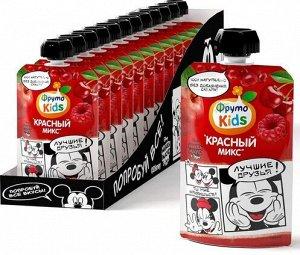 ФРУТОНЯНЯ Пюре 90г ФKids Красный микс яблоко-черешня-малина-красная смородина большая упаковка 12 шт