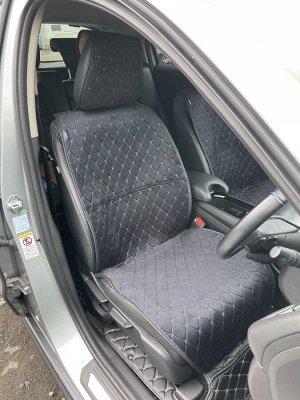 Накидки на сиденья премиум Алькантара передний ряд черный с синей строчкой