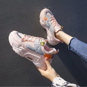 """Женские кроссовки, надпись """"Weher t08 kids"""", цвет розовый/серый"""