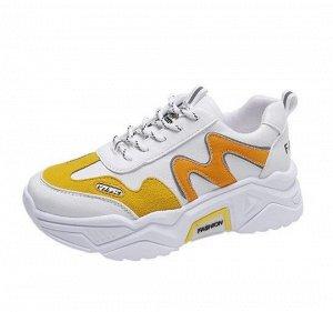 """Женские кроссовки, принт """"Буква М"""", с надписью, цвет оранжевый/белый"""