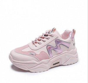 """Женские кроссовки, принт """"Буква М"""", с надписью, цвет розовый"""
