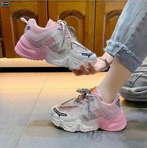 """Женские кроссовки, надпись """"What you du want"""", с флуоресцентной подошвой, цвет розовый/белый"""