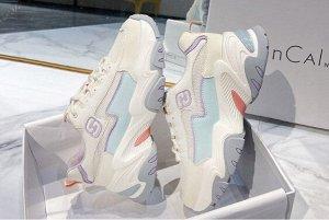 """Женские кроссовки, надпись """"Н"""", с сетчатыми вставками, цвет белый/голубой/серый"""