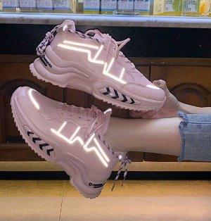 """Женские кроссовки, принт """"Стрелки"""" на подошве, цвет розовый"""
