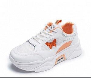 """Женские кроссовки, принт """"Бабочка"""", цвет оранжевый/белый"""