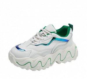 """Женские кроссовки, принт """"Волнистая линия"""" на подошве, цвет белый/зеленый"""