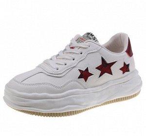 """Женские кроссовки, принт """"Красные звезды"""", с надписью, цвет белый"""