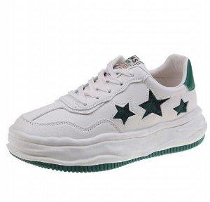 """Женские кроссовки, принт """"Зеленые звезды"""", с надписью,  цвет белый"""
