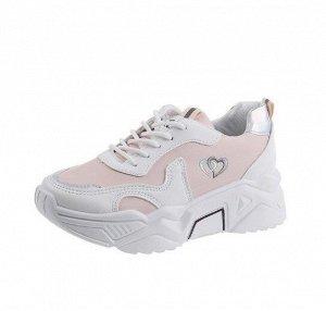 """Женские кроссовки, принт """"Два сердца"""",  цвет белый/розовый"""