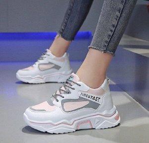 """Женские кроссовки, надпись """"Jinsurast"""", цвет белый/розовый/серый"""