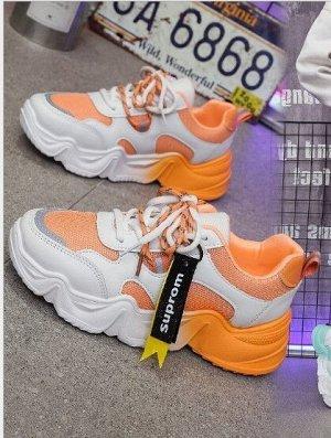 """Женские кроссовки, надпись """"Suprom"""", цвет оранжевый/белый"""