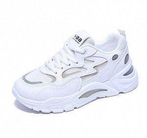 """Женские кроссовки, надпись """"YAA"""", цвет белый/серый"""
