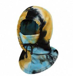 """Балаклава унисекс с капюшоном, принт """"тай-дай"""", цвет желтый/голубой"""