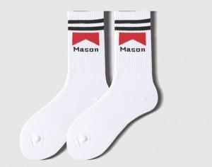 """Носки унисекс, надпись """"mason"""", цвет белый/красный"""