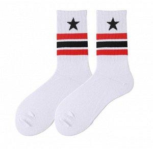 """Носки унисекс, принт """"звезда, полосы"""", цвет белый/красный"""